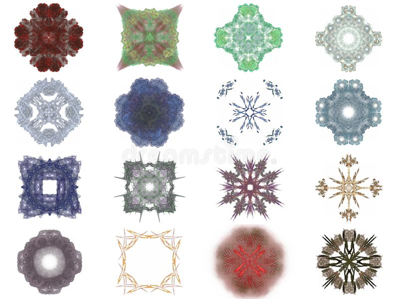 Set of different colored patterns on an abstract fractal royalty free illustration