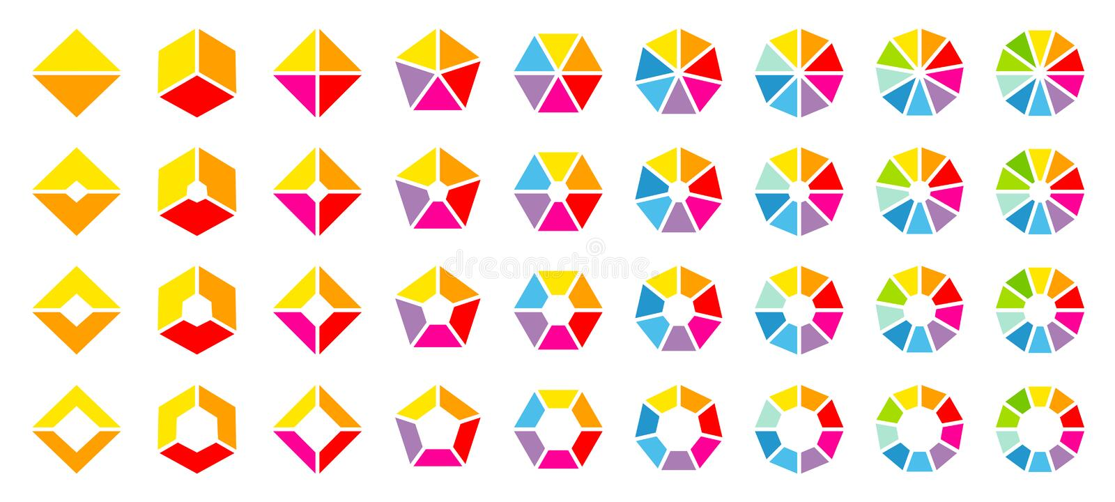 Set Of Different Colorful Angled Pie Charts royalty free illustration