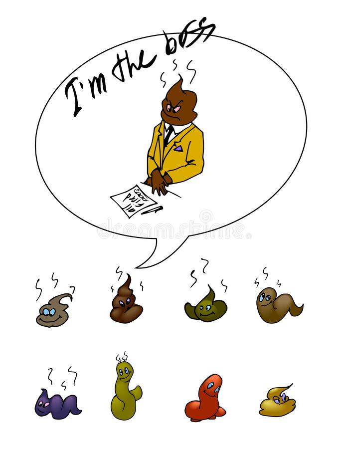 Set of different colorful funny poop stock illustration