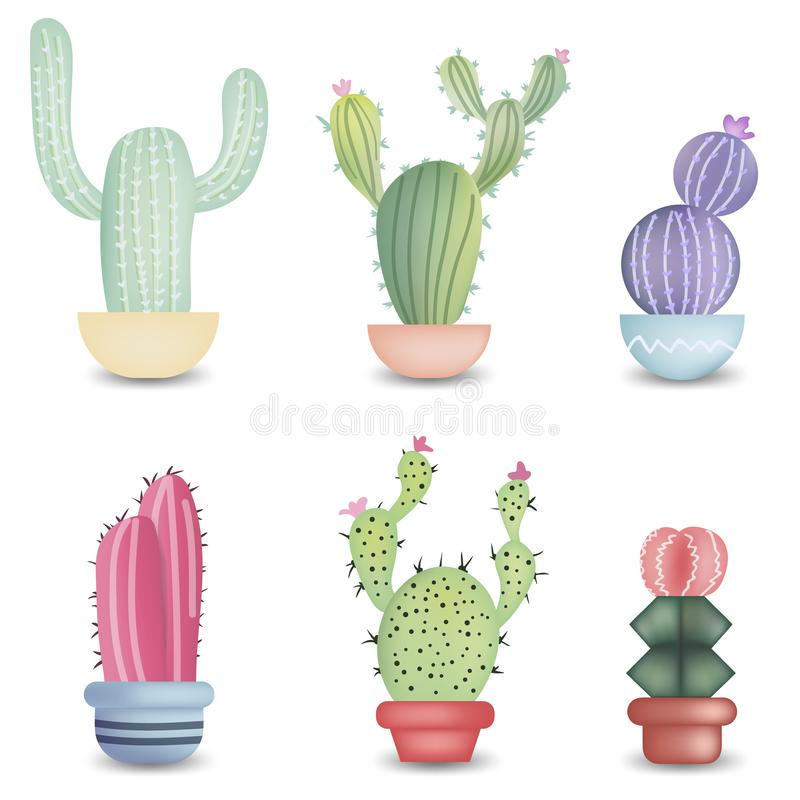 Set of different colorful realistic cactuses in pot. Vector illustration isolated on white background. royalty free illustration
