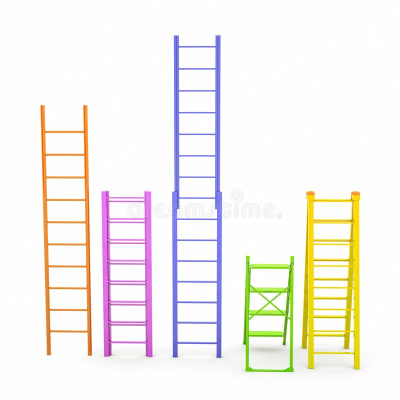 Set of different colors ladders on white background. 3D illustration.  stock photos