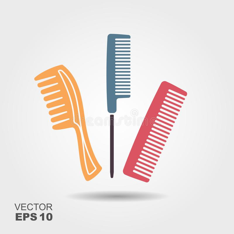 Set of different combs. Flat icon with shadow royalty free illustration