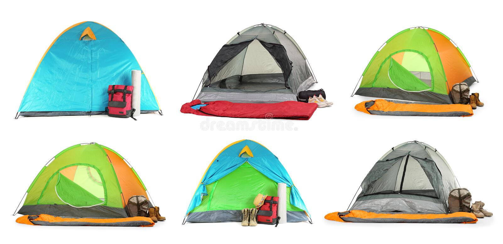 Set of different comfortable tents and camping equipment on white. Background stock photo