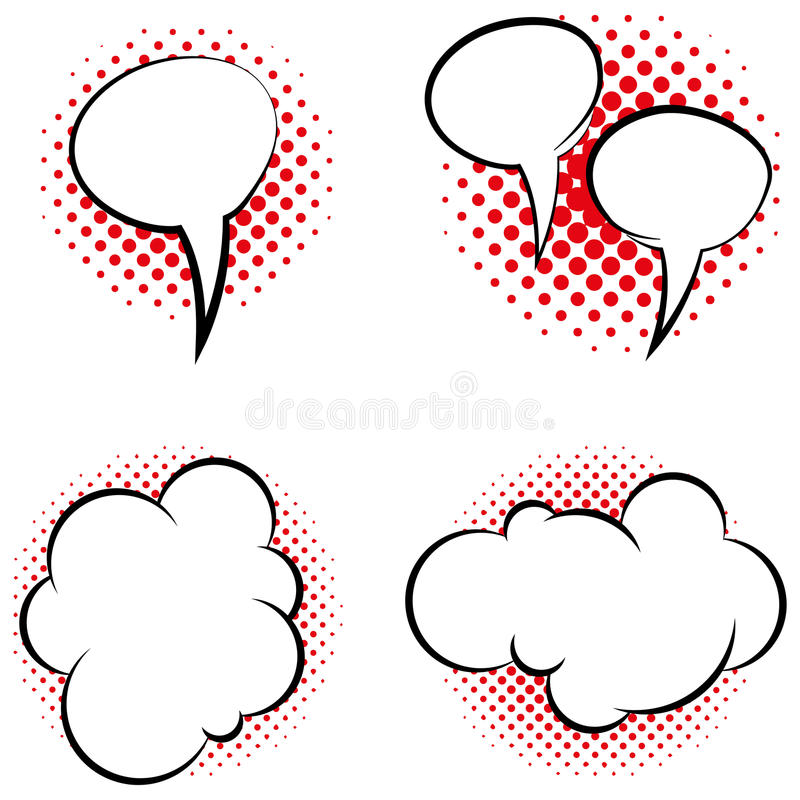 Download Set Of Different Comic Book Bubbles Isolated Stock Vector