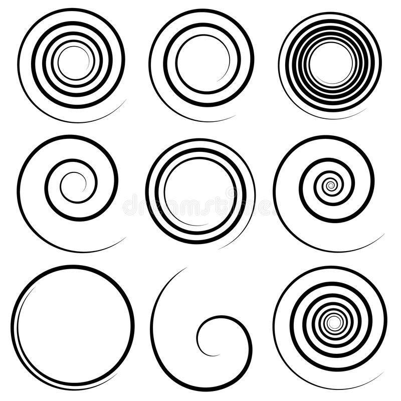 Set of 9 different concentric spiral elements. Abstract geometri. C shape set. - Royalty free vector illustration stock illustration