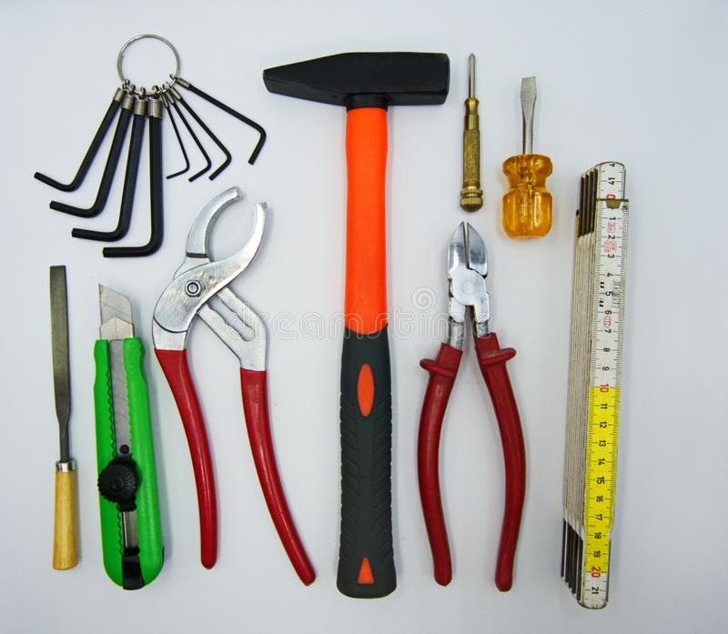 Set with different construction tools on white background stock image