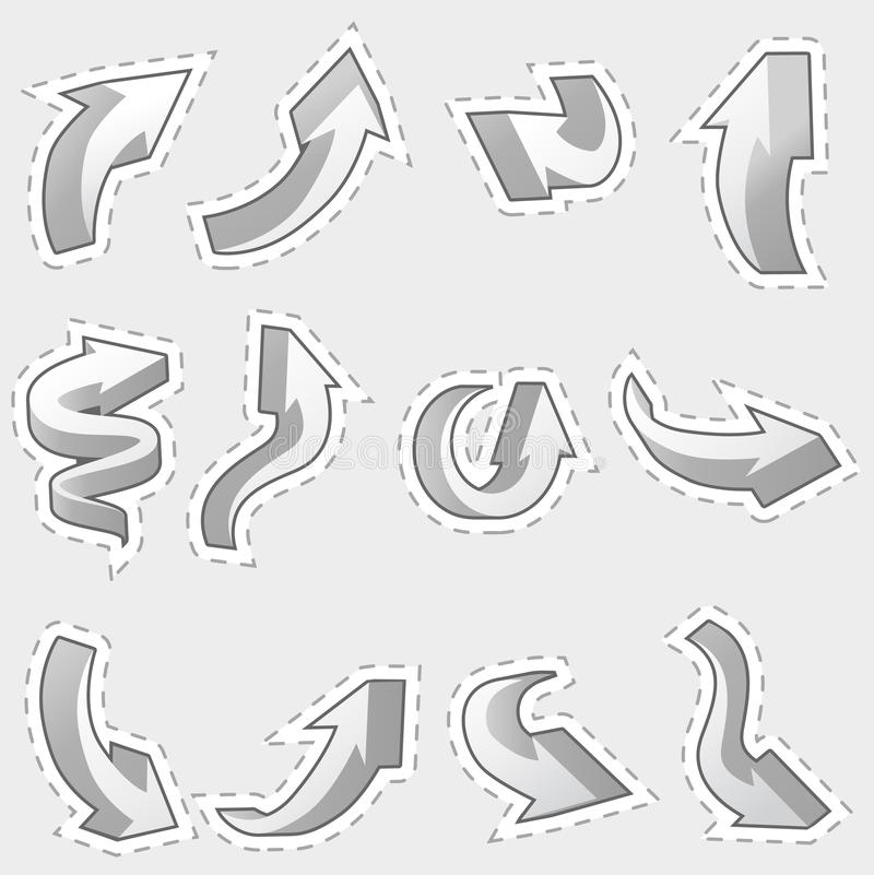 Download Set Of Different Contour Arrows Stock Vector - Illustration of smooth, point: 20961724