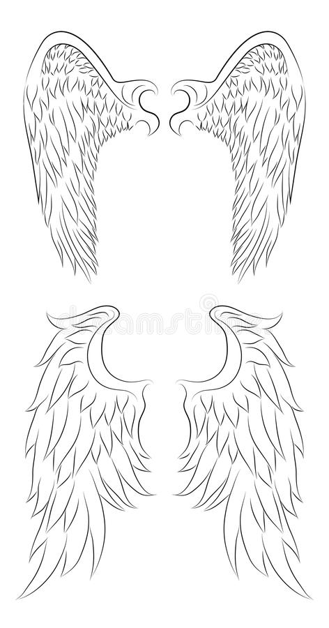 Set of different contour drawing of an angel wings. stock illustration
