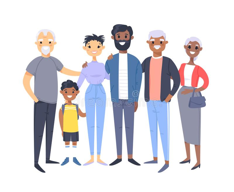 Set of different couples and families. Cartoon style people of different races, nationalities african american and asian, ages vector illustration