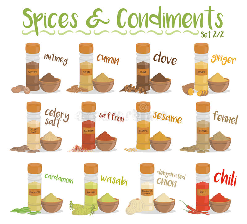 Set of 12 different culinary species and condiments in cartoon style. Set 2 of 2. Vector Illustration. Set of 12 different culinary species and condiments in royalty free illustration