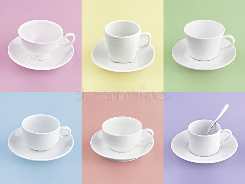 Set of different cup of coffee on many color stock photography
