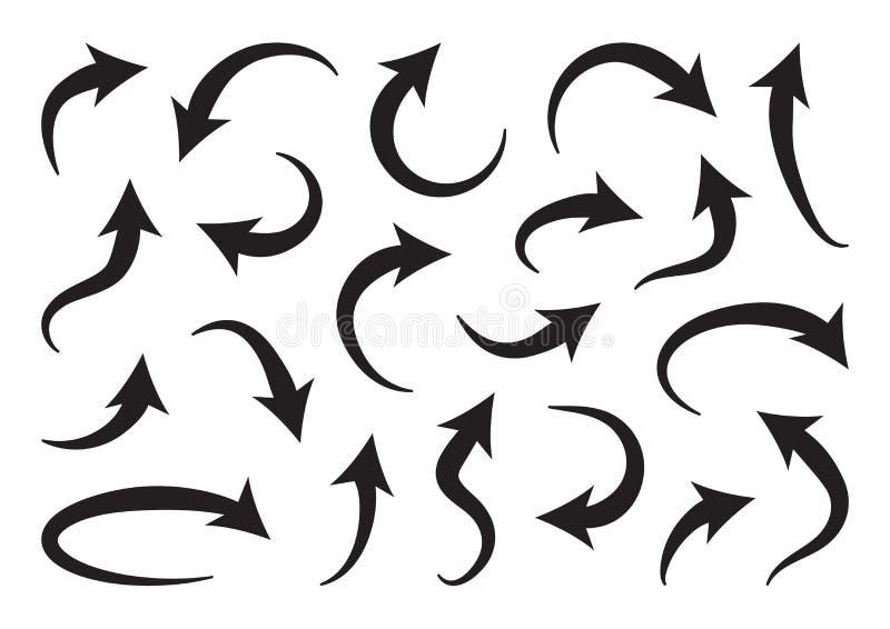 Set of different curve arrows, black collection. Vector. Illustration vector illustration