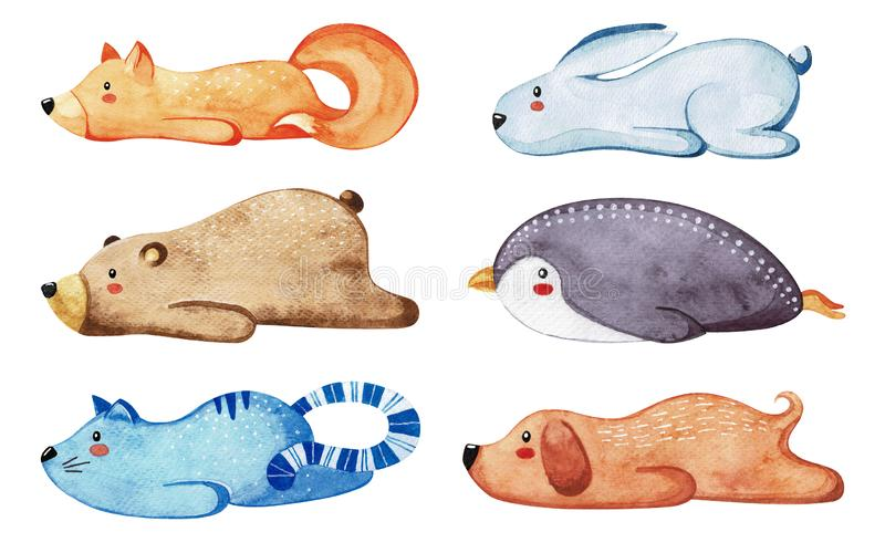 Set of different cute animals. Lazy animals. Watercolor. Set of different cute animals. Lazy animals. Watercolor stock illustration