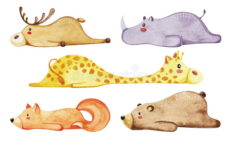 Set of different cute animals. Lazy animals. Watercolor. royalty free illustration