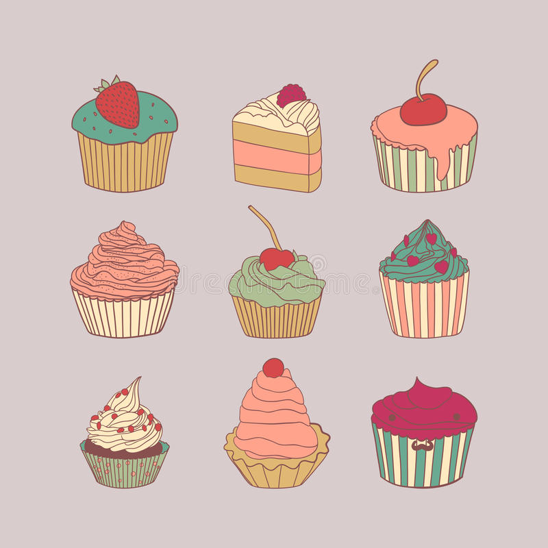 Set of 9 different delicious cupcakes vector stock illustration