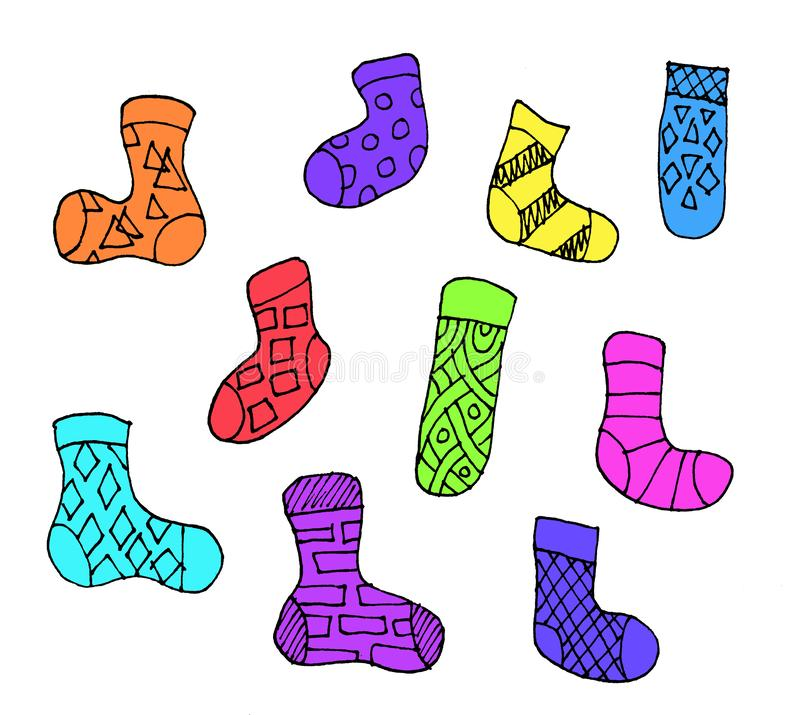 Set of different doodle outline socks isolated on white background. Set of ten colorful socks. Flat illustration royalty free illustration