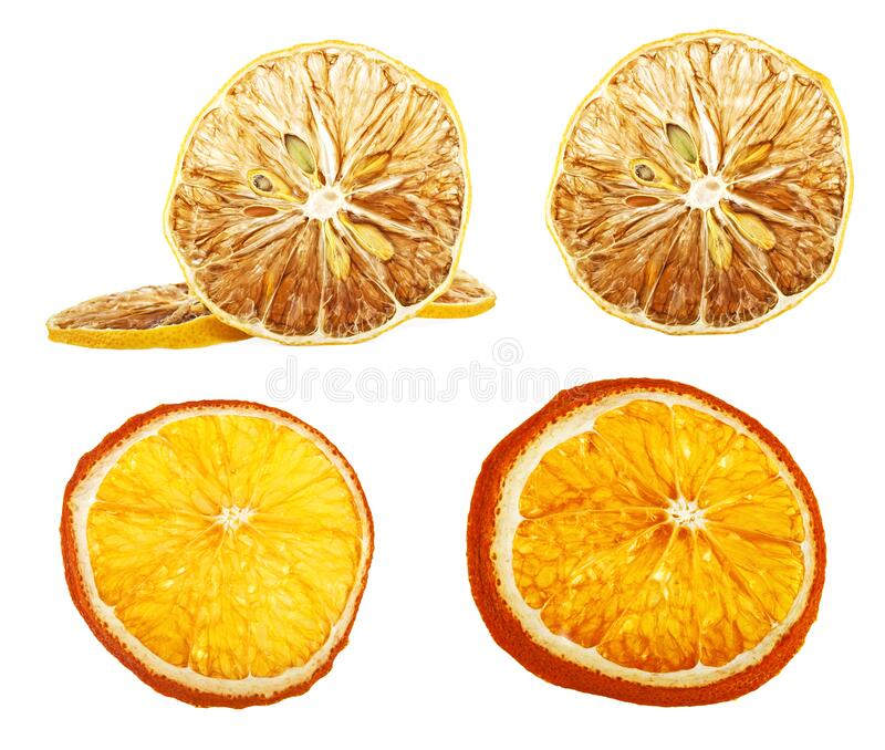 Set of different dried slices of orange and lemon on white background royalty free stock images
