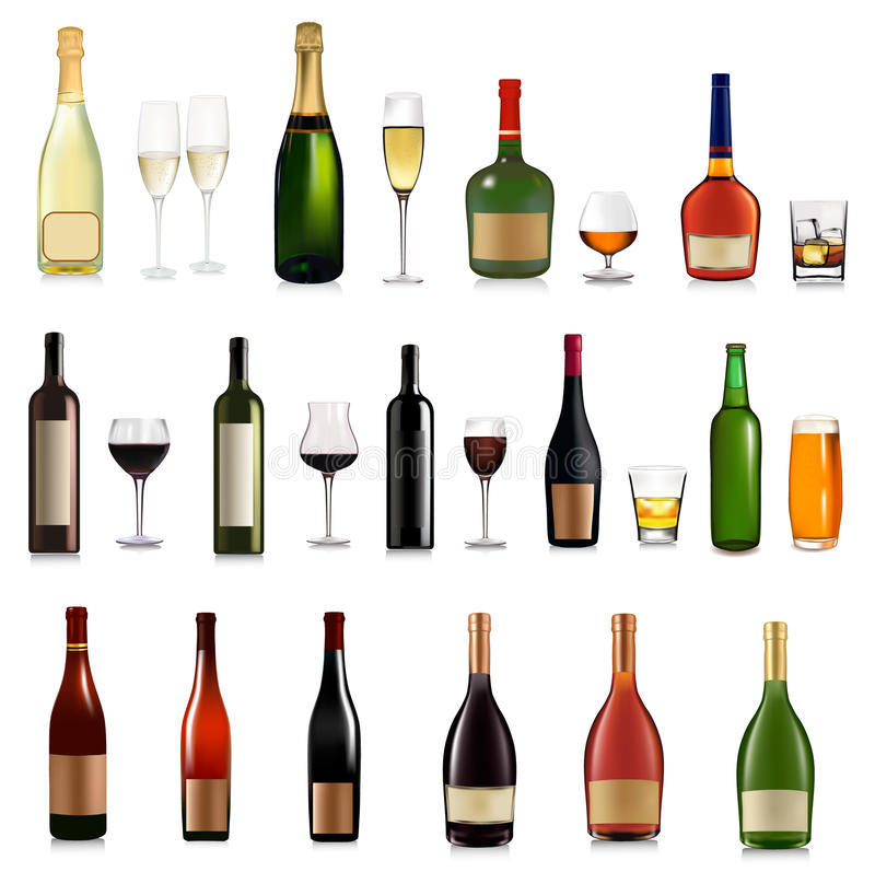 Set of different drinks and cocktails. Vector royalty free illustration