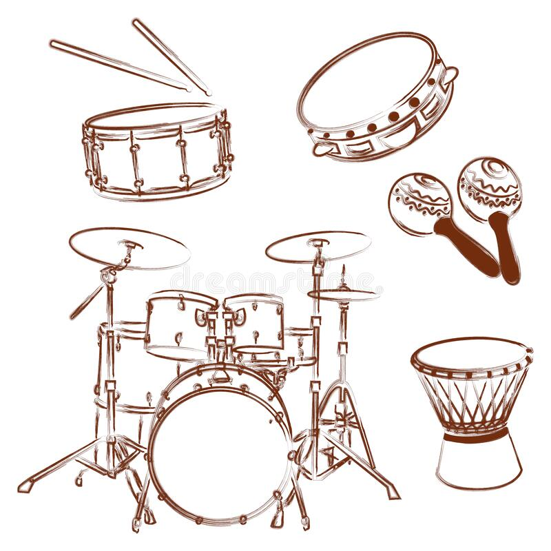 Percussion instruments collection. Outline illustration stock images