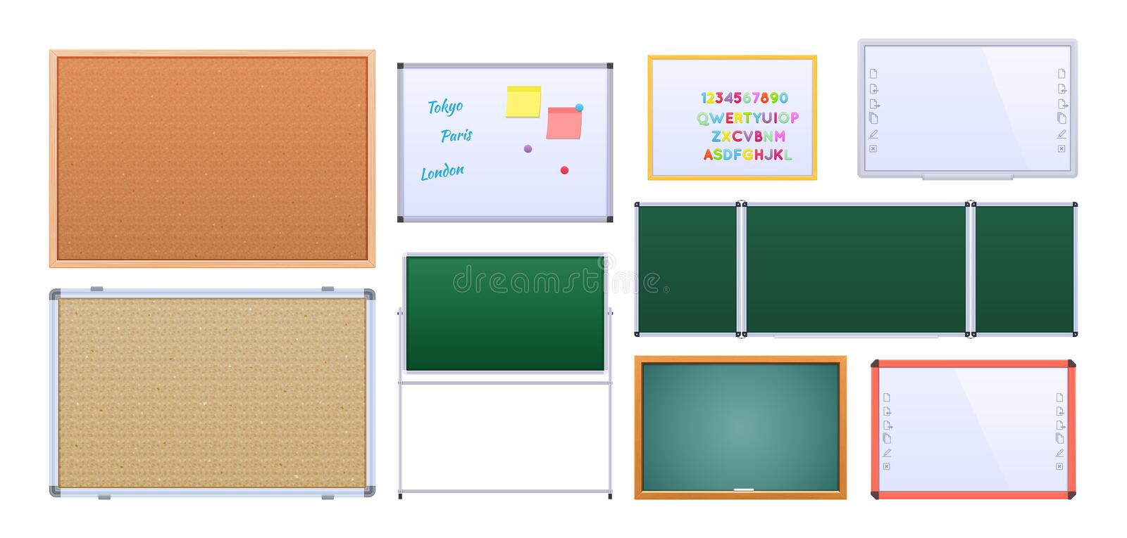Set of different educational boards, with metallic and wooden frames. Set of educational chalkboard, with a metallic and wooden frames, for an educational stock illustration