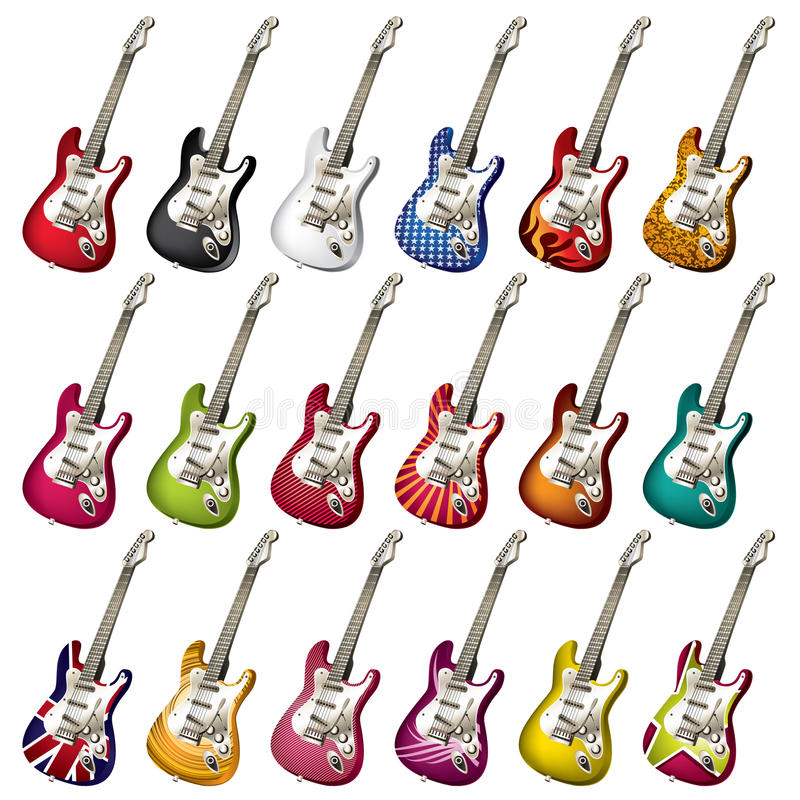 A set of different electric guitars