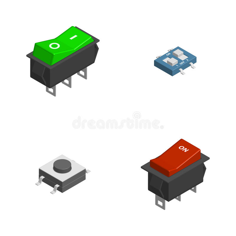 Set of different electrical buttons and switches in 3d, vector illustration. royalty free illustration