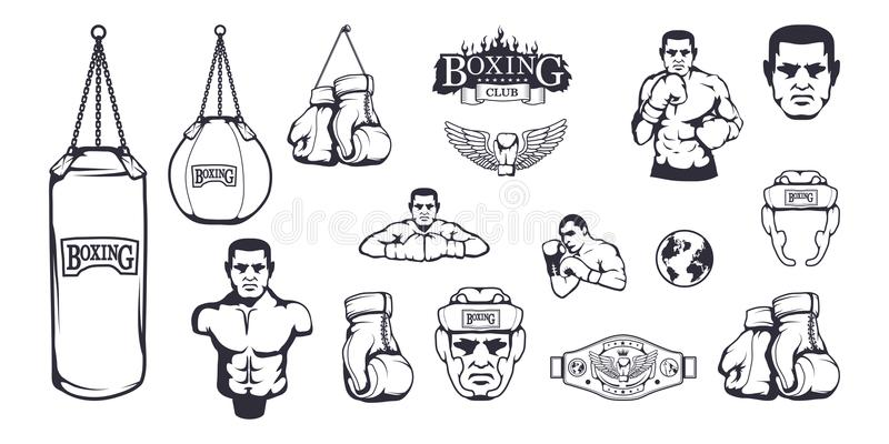 Set of different elements for box design - boxing helmet, punching bag, boxing gloves, boxing belt, boxer man. Sports equipment set. Fitness illustrations royalty free illustration