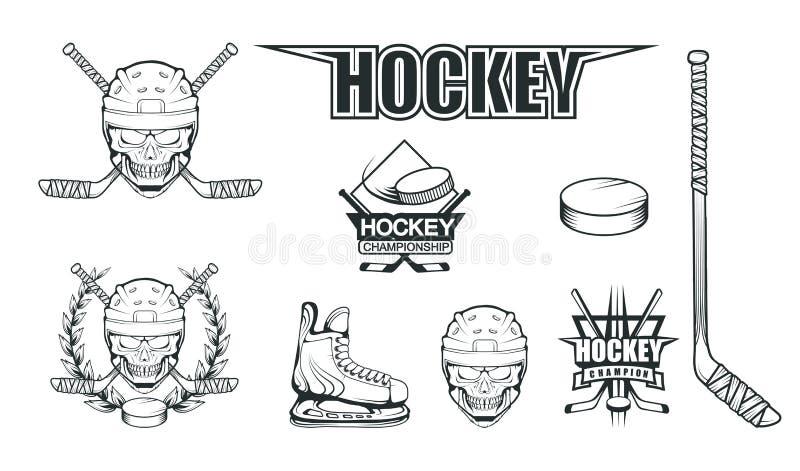 Set of different elements for hockey playing. Hockey helmet. Professional ice skates illustration. Skull with hockey helmet. Ice Games logo. Goalkeeper mask vector illustration