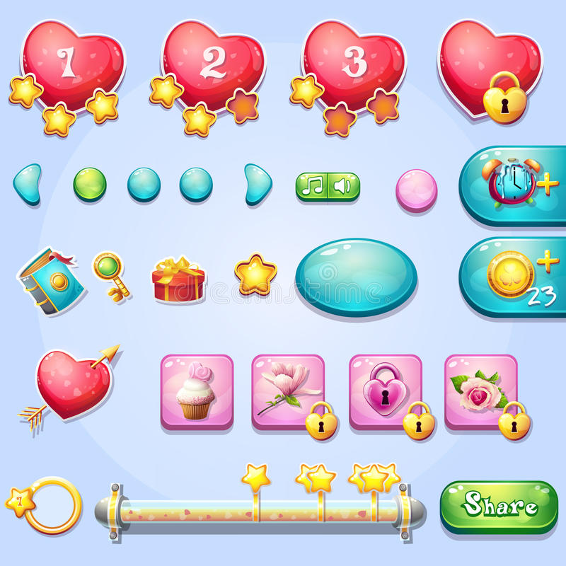 Set of different elements on the theme of Valentine's Day. Set of different elements, progress bars, boosters, buttons for computer games and web design on the royalty free illustration