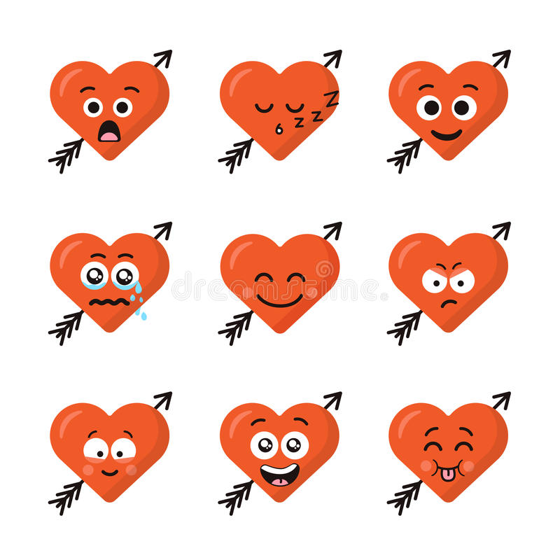 Set of different emoticons emoji heart faces with arrow isolated on the white background. Happy and sad faces royalty free illustration
