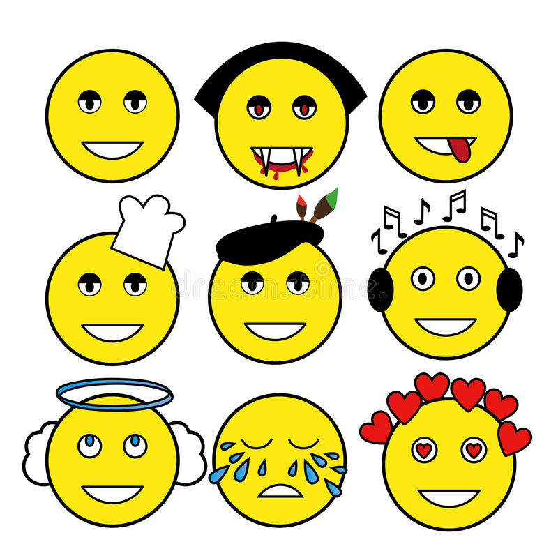 Set of different emoticons. Smiley: vampire, artist, chef, angel, music lover, smile, tears, love, bully. Set of different emoticons. Smiley: vampire, artist royalty free illustration
