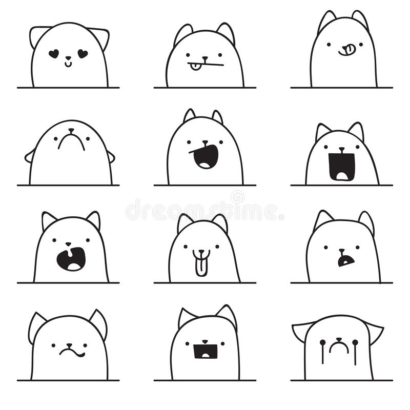 Set of 12 different emotions cat. Anime doodle design. Set of 12 different doodle emotions cat. Emotions for design. Anime. Icons cat emotion. Anger and joy vector illustration
