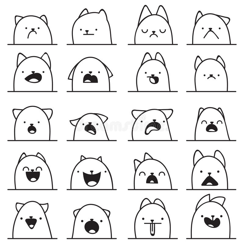 Set of 20 different emotions cat. Anime doodle design. Set of 20 different doodle emotions cat. Emotions for design. Anime. Icons cat emotion. Anger and joy vector illustration