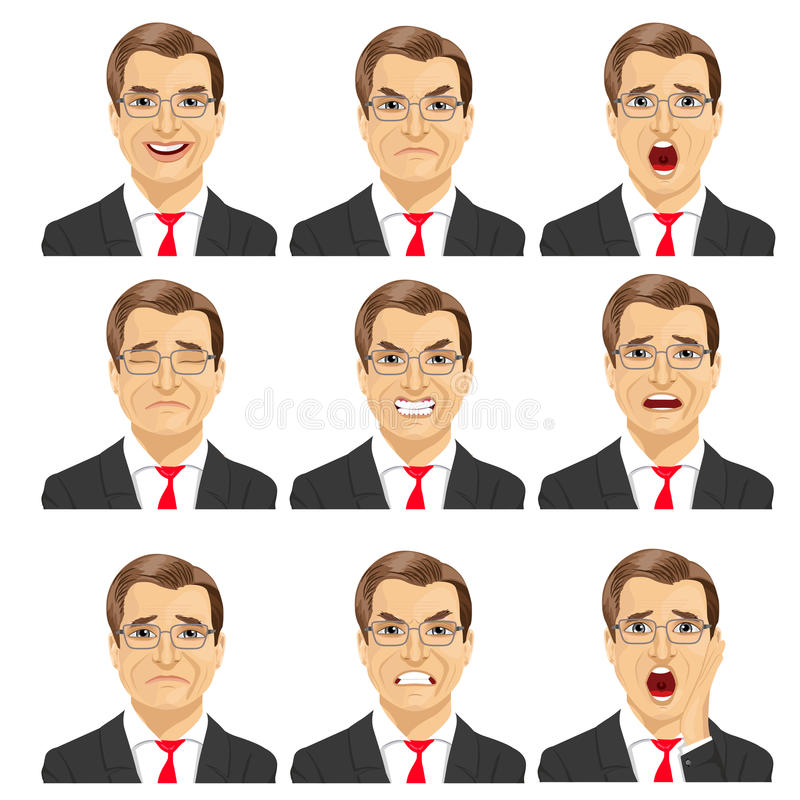 Set of different expressions of the same middle aged businessman with glasses royalty free illustration
