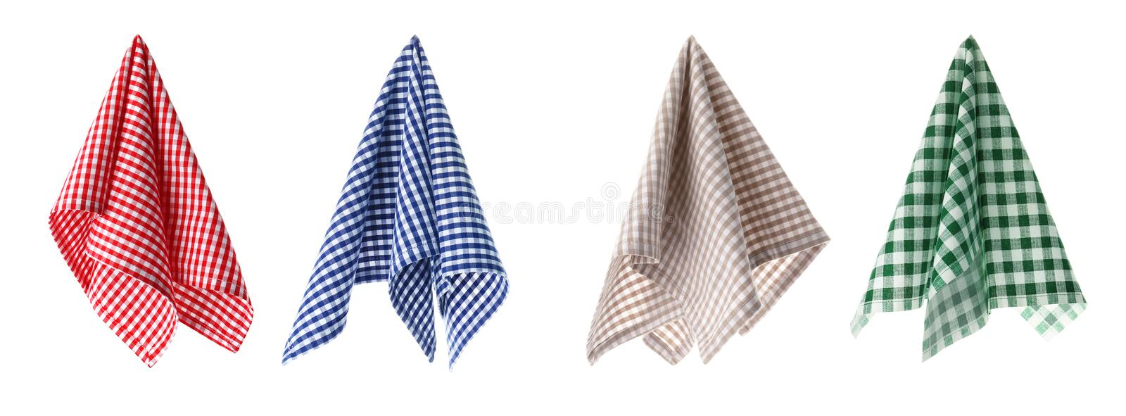 Set with different fabric napkins on white background royalty free stock photography