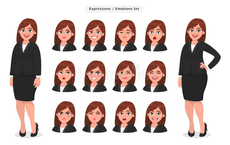 Set of different face expressions/emotions for female cartoon character. Beautiful woman emoji/avatar with various facial. Set of different face expressions/ royalty free illustration