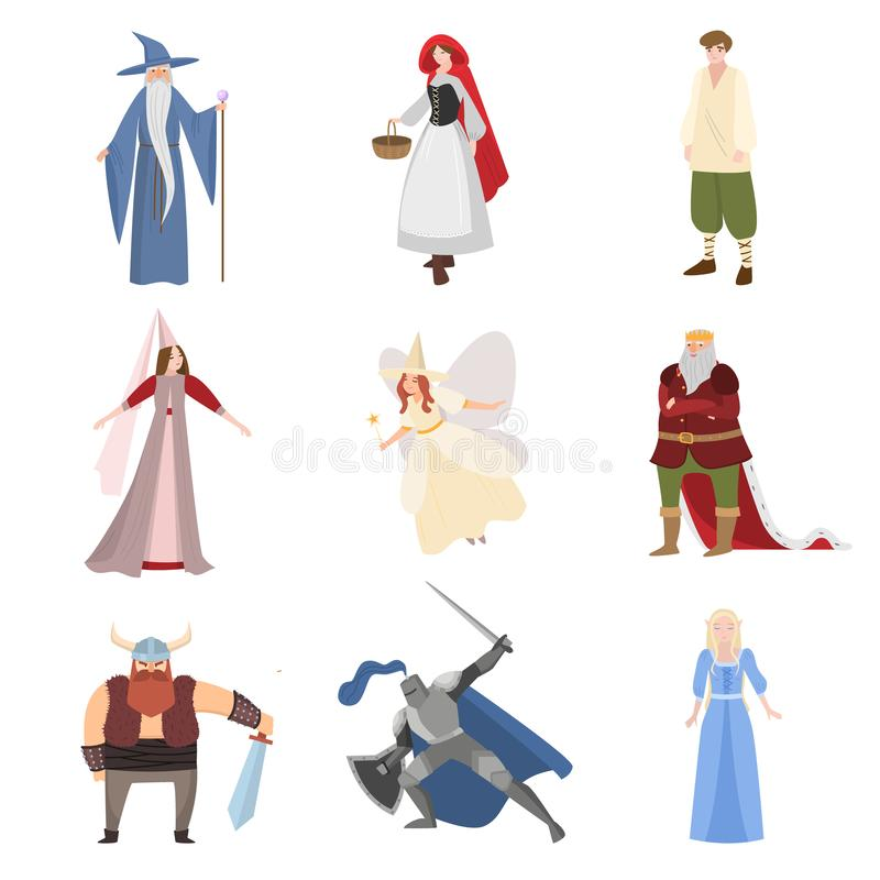 Set of different fairy tale character, personages, childhood. Set of different fairy tale character, personages, happy childhood. Flat style. Vector illustration stock illustration
