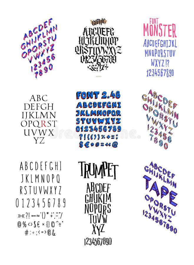 Set of different fashionable fonts. Vector. All letters and somvoly separately. Gothic. Flat and isometric font.  vector illustration