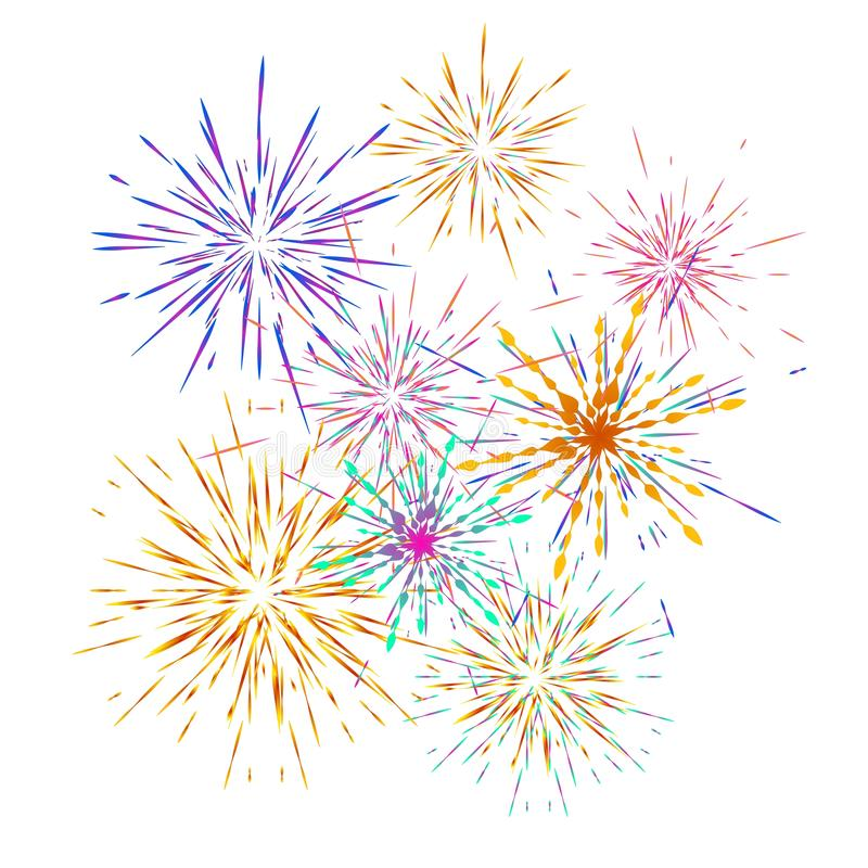 Set of different fireworks explosions. Vector holiday firework. For celebration, winner, victory poster. Independence day of America background royalty free illustration