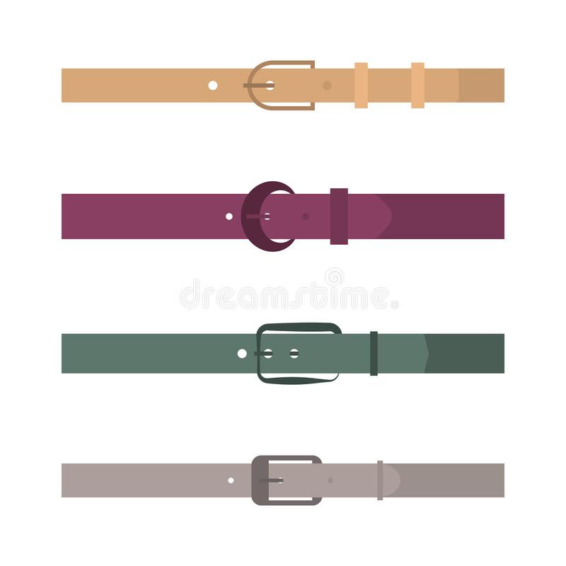 Set of different flat colored belts, vector illustration. royalty free illustration