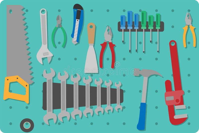 Toll set on a toolboard. Set of different flat colored tools on a perforated toolboard stock illustration