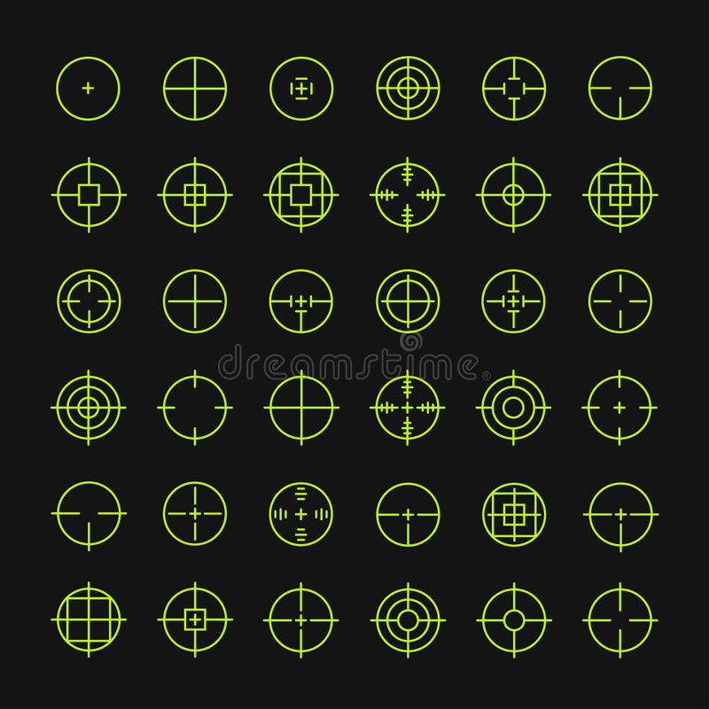 Set of different flat vector crosshair sign icons. Line simple symbols. Target aim. Circles and rounded squares buttons royalty free illustration