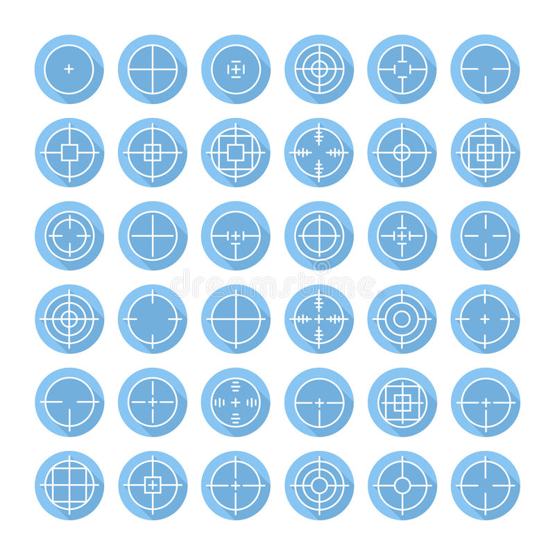 Set of different flat vector crosshair sign icons. With long shadow. Line simple symbols. Target aim. Circles and rounded squares buttons royalty free illustration