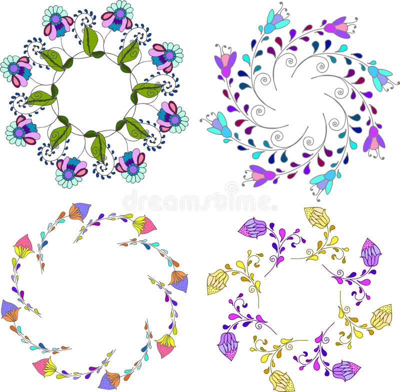Set of different floral bouquets, floral frames vector clip art,colorful and bright floral wreath royalty free illustration