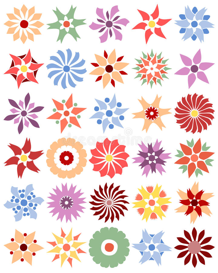 Set Of Different Flowers (vector) Stock Image