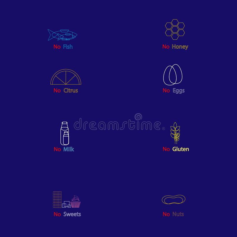 Set of different food allergens. Contours of colorful atopens on dark blue background. vector illustration with text royalty free illustration