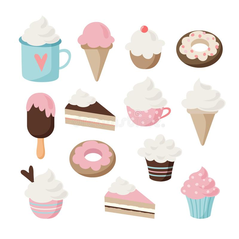 Set of different food and drink icons. Isolated retro illustrations of cakes, doughnuts, ice cream, sundae, coffee. Cupcakes, muffins stock illustration