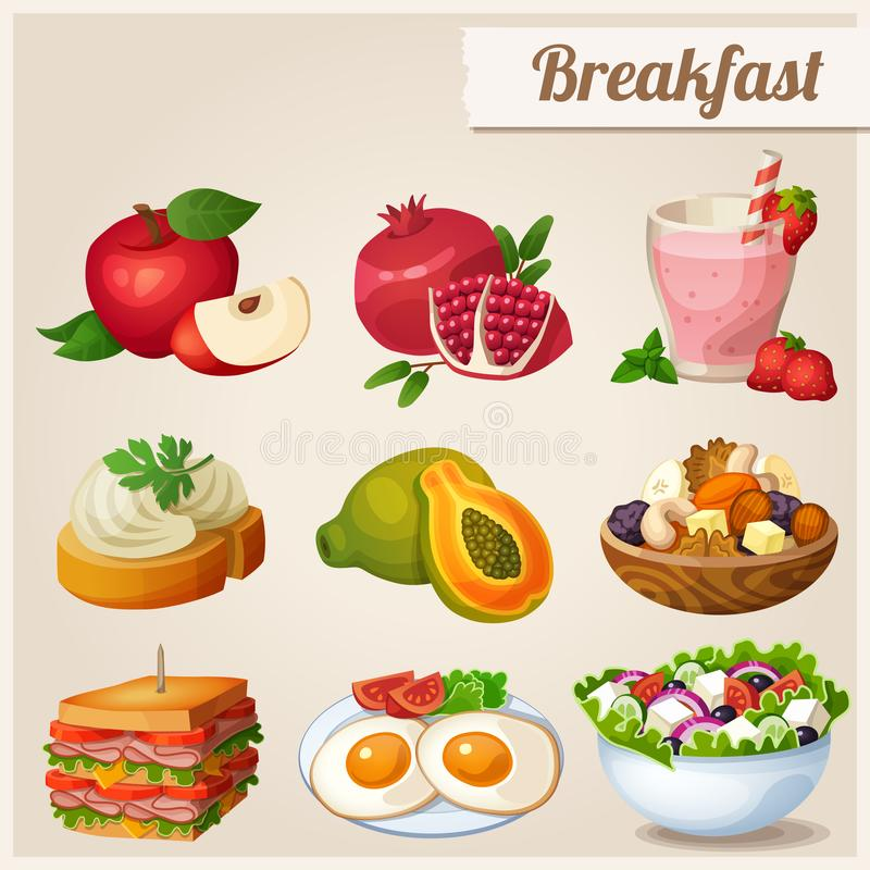 Set of different food icons. Breakfast. Red apple, pomegranate, glass of strawberry smoothie, sandwich with cream cheese, papaya, fried eggs, dried fruits vector illustration