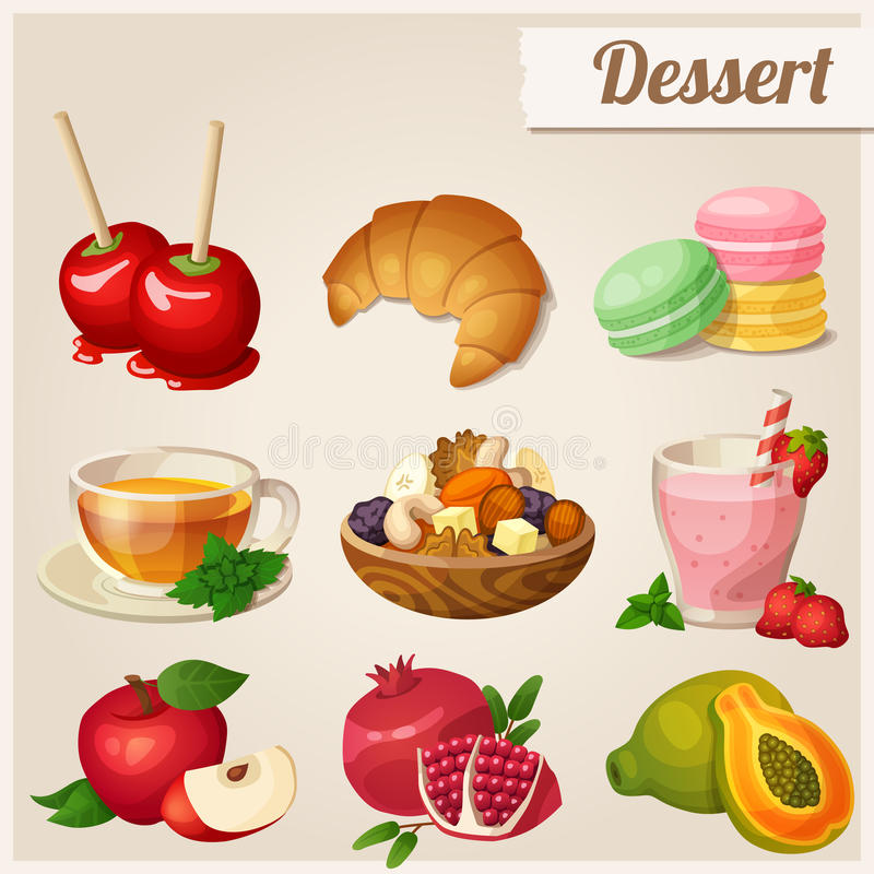 Set of different food icons. Dessert. Red apple, pomegranate, glass of strawberry smoothie, papaya dried fruits toffee apples croissant macaroons herbal tea stock illustration