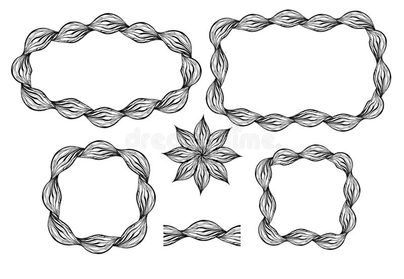 Set of different frames of wavy braids. Round, square frames. Seamless brush and flower in the set vector illustration